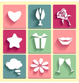 Set love chat favorites congratulation icons vector