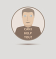Abstract support man with can i help you words vector