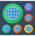 Earth globe icon with long shadow -  six colors vector