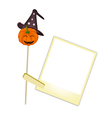 Happy jack-o-lantern pumpkin with blank photos vector