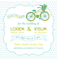 Wedding invitation card - vintage bicycle theme vector