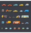 Stylish retro car line icons set isolated vector