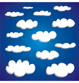 White hand drawn clouds set vector