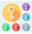 Flat style key icon with long shadow six colors vector