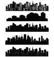 Set of cities silhouettes vector