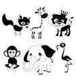 Cute animals black version vector