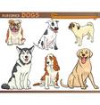 Purebred dogs cartoon set vector