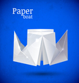 Origami paper blue boat vector