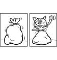 Let the cat out of the bag coloring page vector