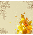 Background with orange blots and leaves vector