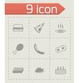 Black food icons set vector