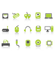 Computer device icons set green series vector