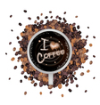 Hot coffee with i love coffee word vector
