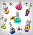 Cute hand drawn bottles with poison for halloween vector