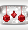 Holiday glowing card with christmas balls vector