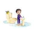 A boy washing his hands at the sink vector