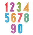 Retro style geometric bold numbers set with hand vector