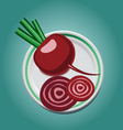 Beet on a plate with slices vector