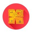 Treasure map icon vector