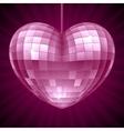 Disco heart purple mirror disco ball vector
