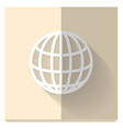 Paper flat icon with a shadow symbol of globe vector