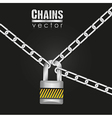 Silver chains attached by a padlock vector