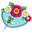 Spring time flower and bee with qr code vector