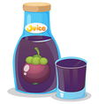A bottle of eggplant juice vector