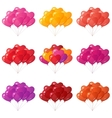 Balloons hearts bunches set vector