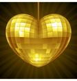 Disco heart yellow mirror disco ball vector