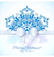 Blue christmas greeting card with bow vector