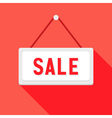 White sale sign over red vector