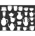 White coffee and tea cups silhouettes vector