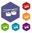 Sushi rhombus icons vector