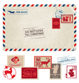 Christmas vintage postcard with postage stamps vector