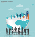 Business people silhouettes with city and modern vector
