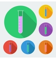 Test-tube icon with long shadow -  six colors set vector