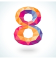 Number eight in modern polygonal crystal style vector