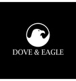 Dove and eagle negative space concept design vector