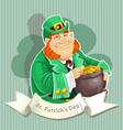 Cute big fat leprechauns guard the pot of gold vector