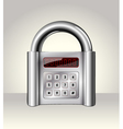 Closed padlock with digital interface vector