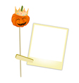 Halloween pumpkin in a crown with blank photos vector