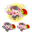 Graduation related event pink mouse mascot vector