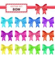 Collection colorful ribbon bows on white vector