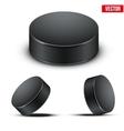 Set of black hockey pucks vector