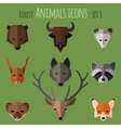 Forest animals flat icons set 1 vector