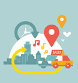 An urban life with taxi and geo location vector