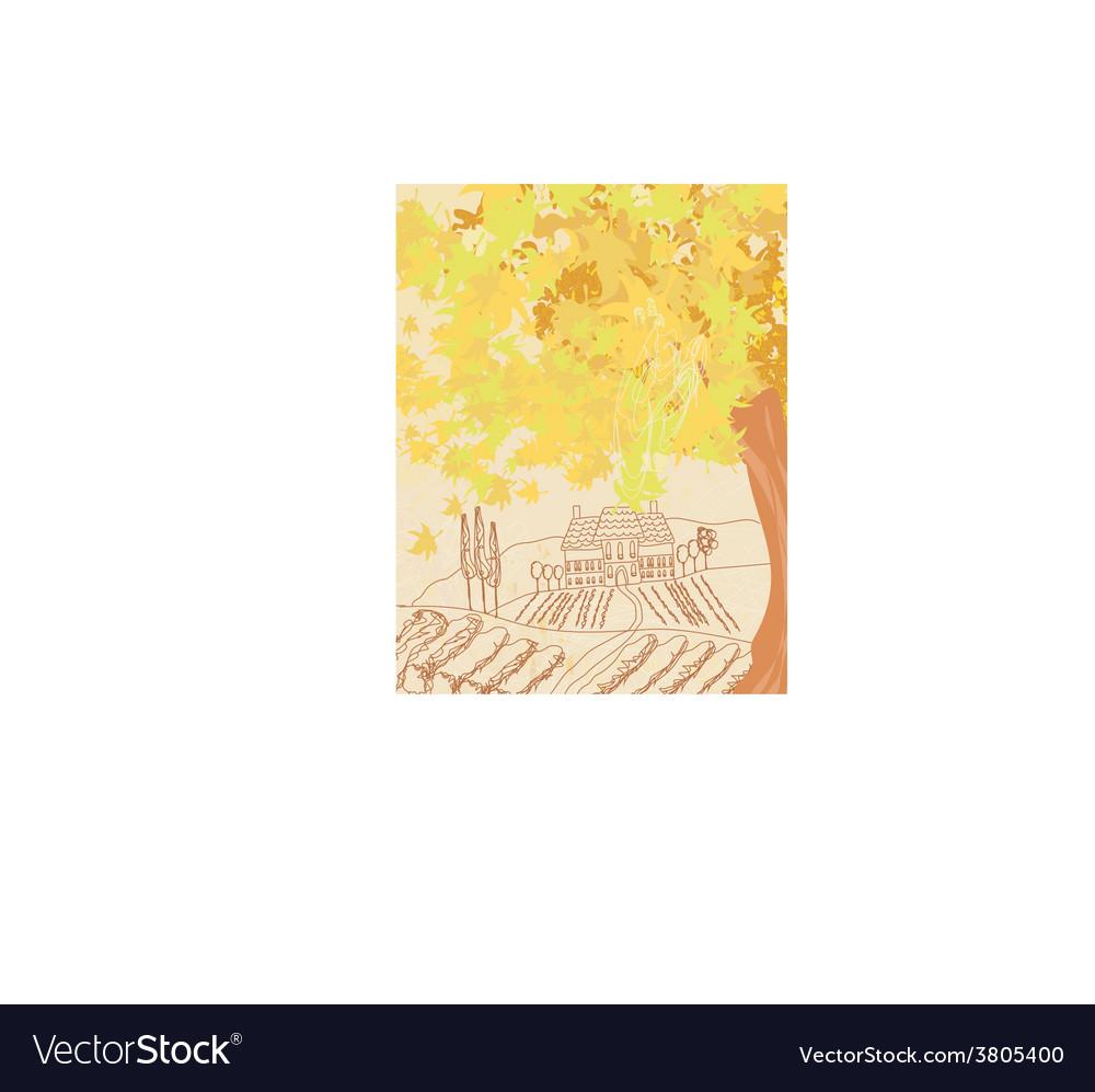 Beautiful autumn landscape vector | Price: 1 Credit (USD $1)