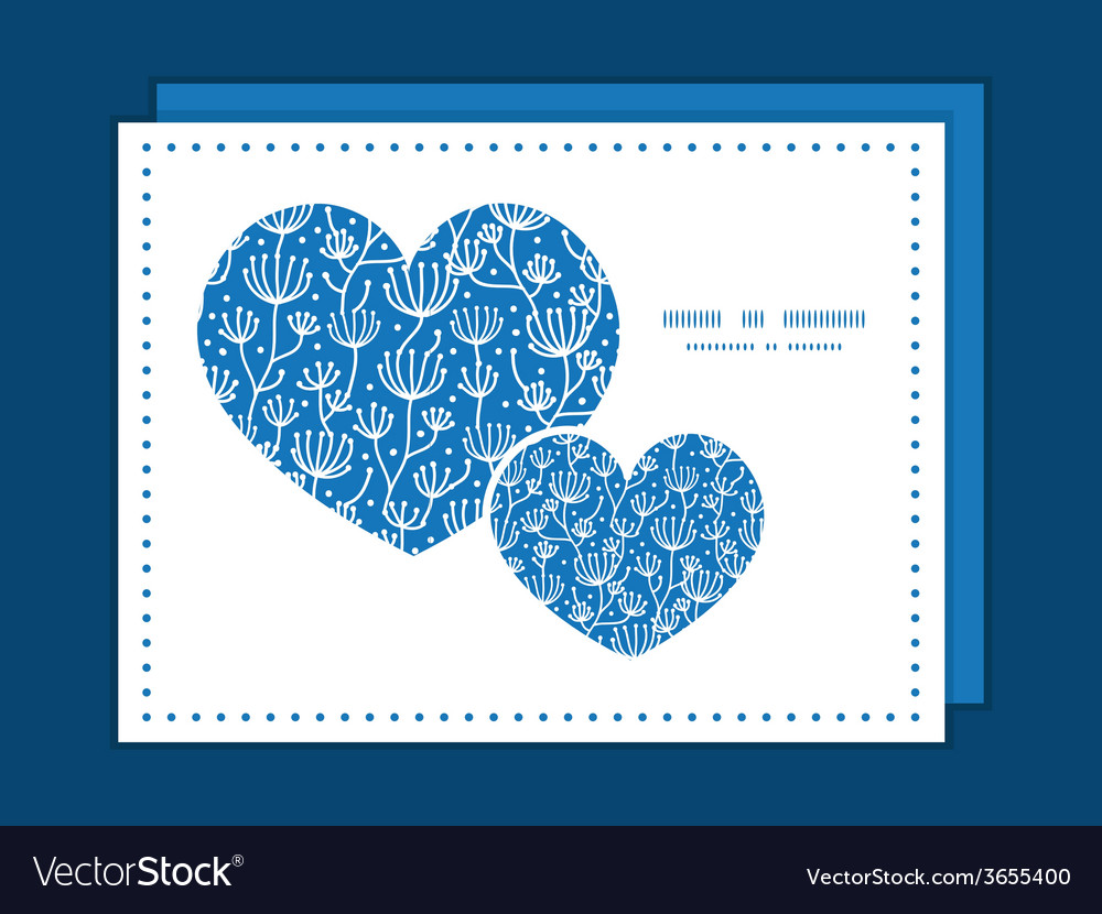 Blue white lineart plants heart symbol frame vector | Price: 1 Credit (USD $1)