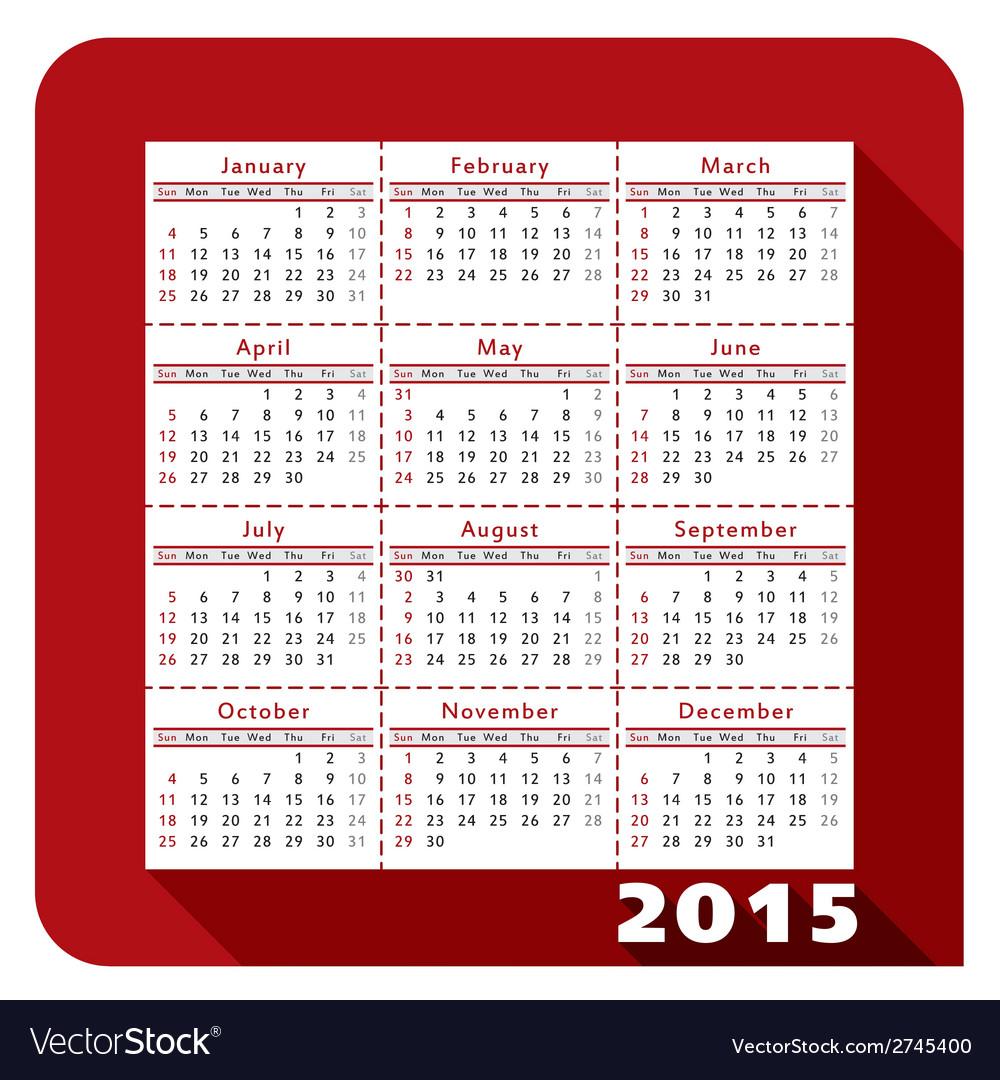 Calendar 2015 2a vector | Price: 1 Credit (USD $1)